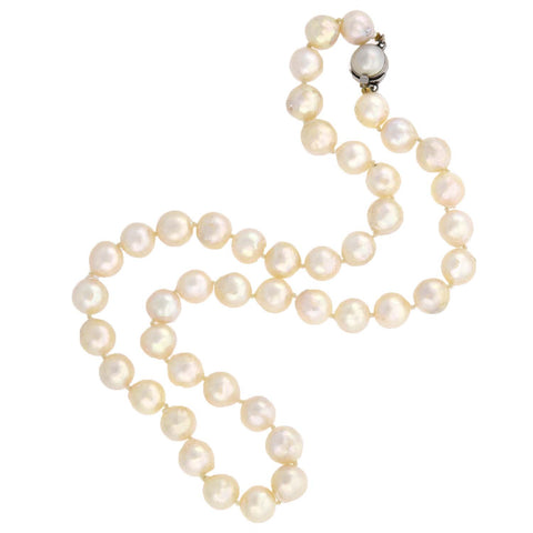 Estate 9mm Pearl Necklace + 14kt Clasp 18""
