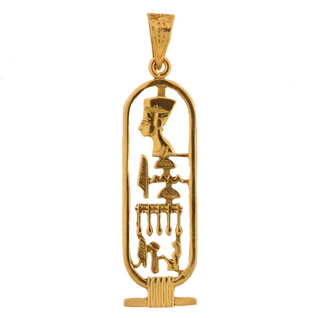 Late Art Deco 20kt Egyptian Hieroglyphics Pendant