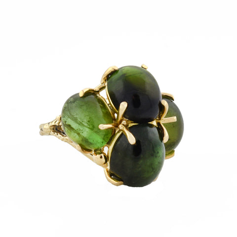 Estate Large 14kt Green Tourmaline Cocktail Ring