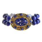 Art Deco Chinese Silver Gilt + Carved Lapis Lazuli Beaded Bracelet