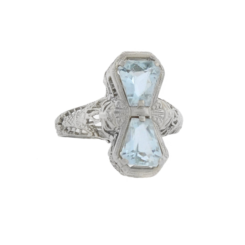 Art Deco 14kt Aquamarine Bow Motif Filigree Ring