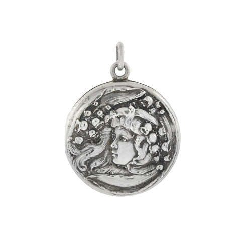 Art Nouveau Sterling Silver Repousse Lady + Lily of the Valley Locket