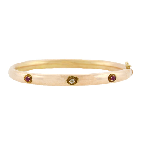 Victorian 10kt Diamond + Ruby 3-Stone Bangle Bracelet