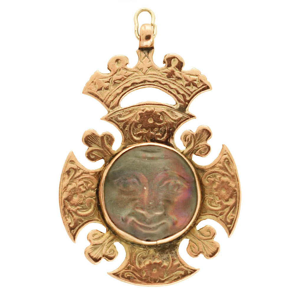 "Late Victorian 9kt Saphiret Glass ""Man in the Moon"" Medallion Pendant"
