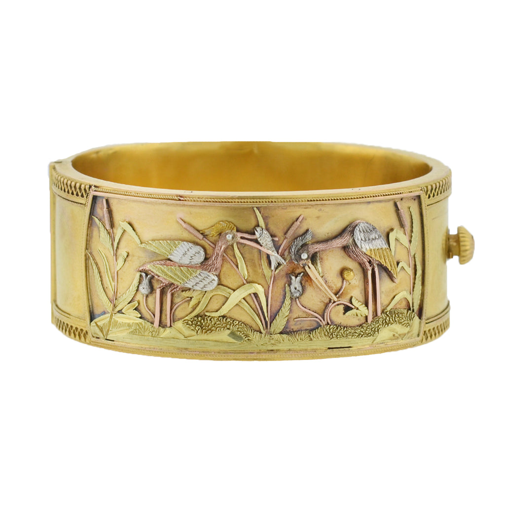 Victorian Signed 15kt Mixed Metals Aesthetic Movement Heron Bangle Bracelet