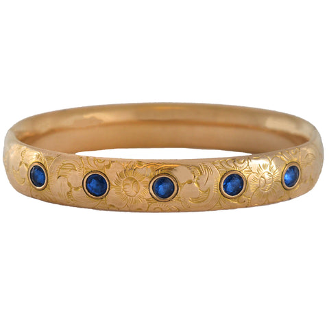 FOSTER & BAILEY Victorian Gold-Filled + Faux Sapphire Etched Bracelet