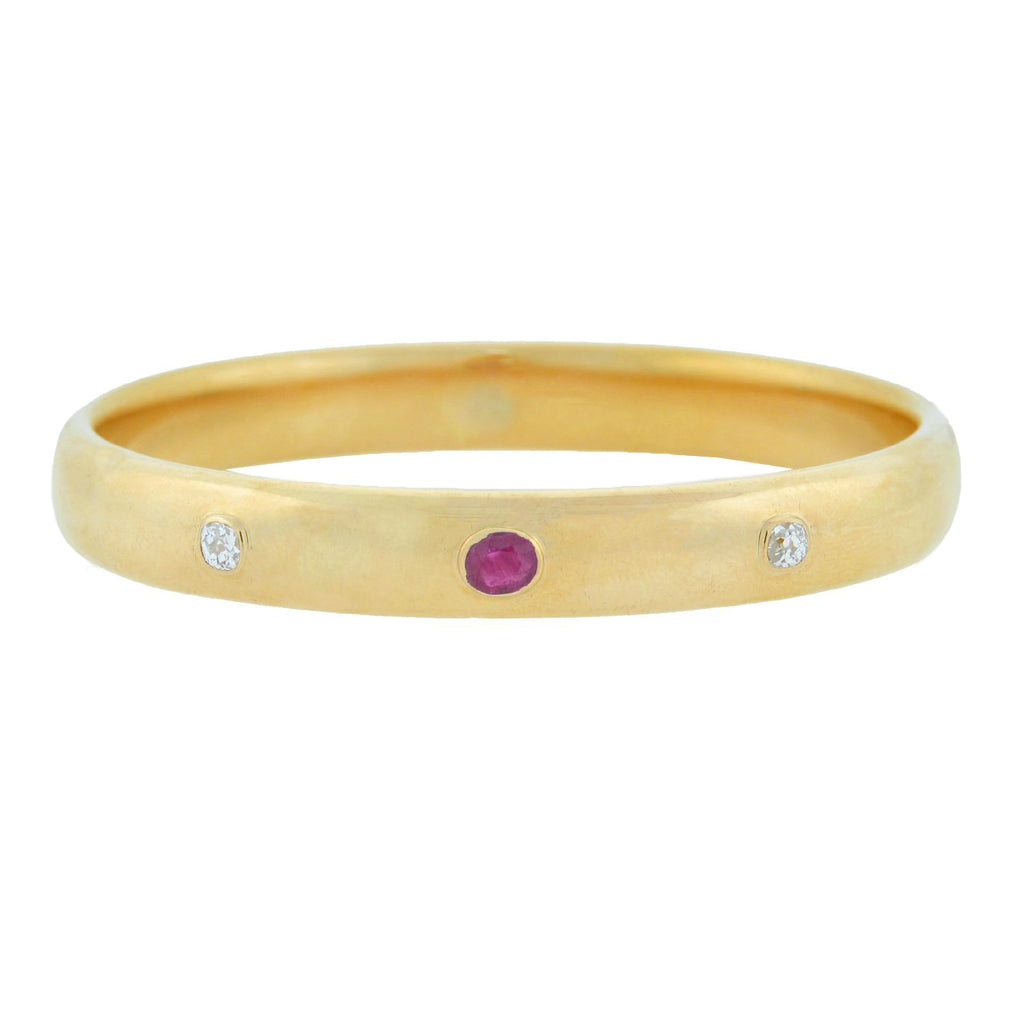 SLOAN & CO. Victorian 14kt 3-Stone Ruby + Diamond Bangle Bracelet