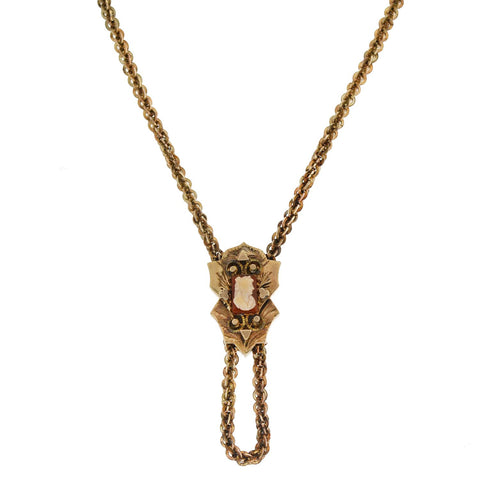 Victorian Gold Filled Chain + Cameo Slide Necklace 55""