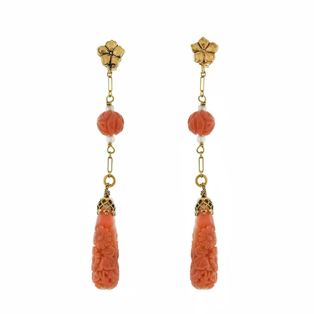 Victorian 14kt Carved Coral + Natural Pearl Dangle Earrings