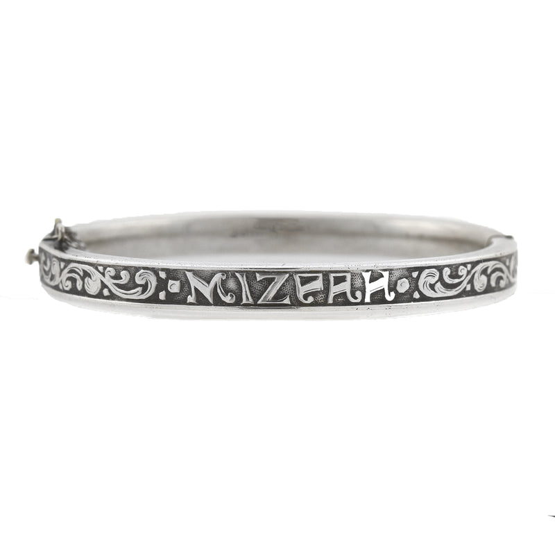 Victorian Sterling Silver Double Ram's Head Bypass Bangle Bracelet