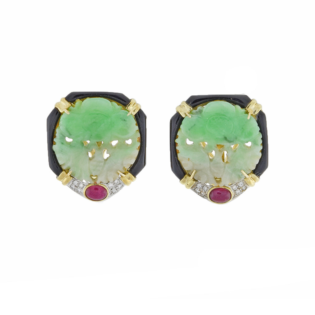 Vintage 14kt Carved Jade, Ruby, Onyx + Diamond Stud Earrings