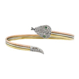 Estate 18kt Tri-Tone Diamond + Emerald Snake Bangle Bracelet