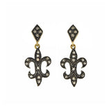 Estate Sterling/14kt Rose Cut Diamond Fleur de Lys Earrings