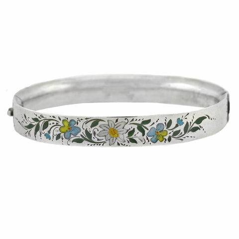 "Victorian Sterling Enameled ""Forget-Me-Not"" Flower Bangle Bracelet"