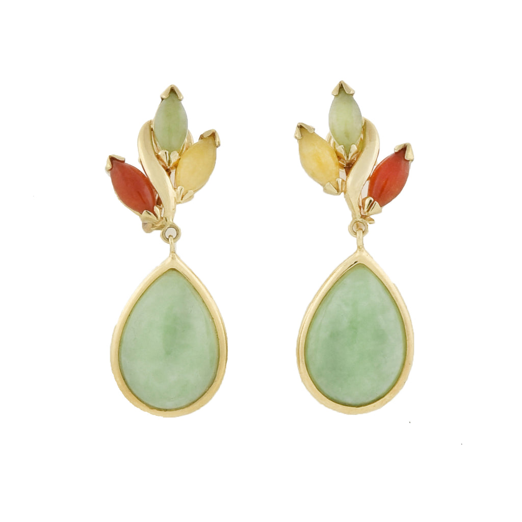 Vintage Chinese 14kt Multi-Color Jade Teardrop Screwback Earrings