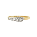 Edwardian 18kt/Platinum Diamond Square Head Nail Ring 0.22ctw