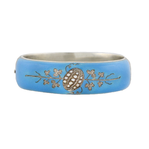 Victorian Austro-Hungarian Silver Blue Enamel + Seed Pearl Bangle Bracelet