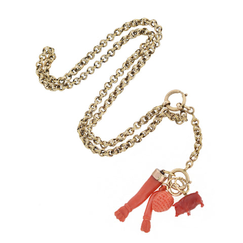 Victorian 14kt Hand Carved Coral Good Luck Multi-Charm Necklace 18.5""