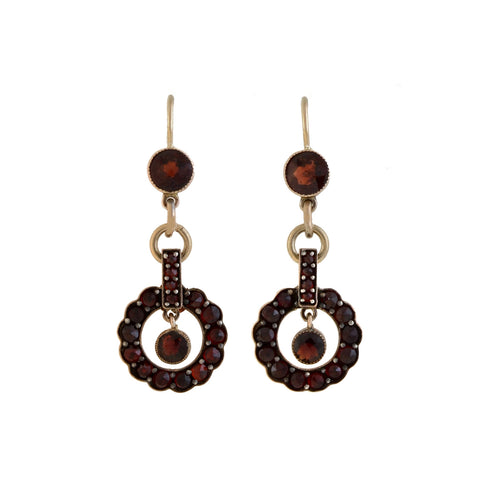 Retro 10kt Garnet Circle Dangle Earrings