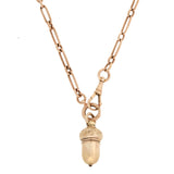 Victorian 14kt Rose Gold Acorn Pendant + Watch Chain Necklace