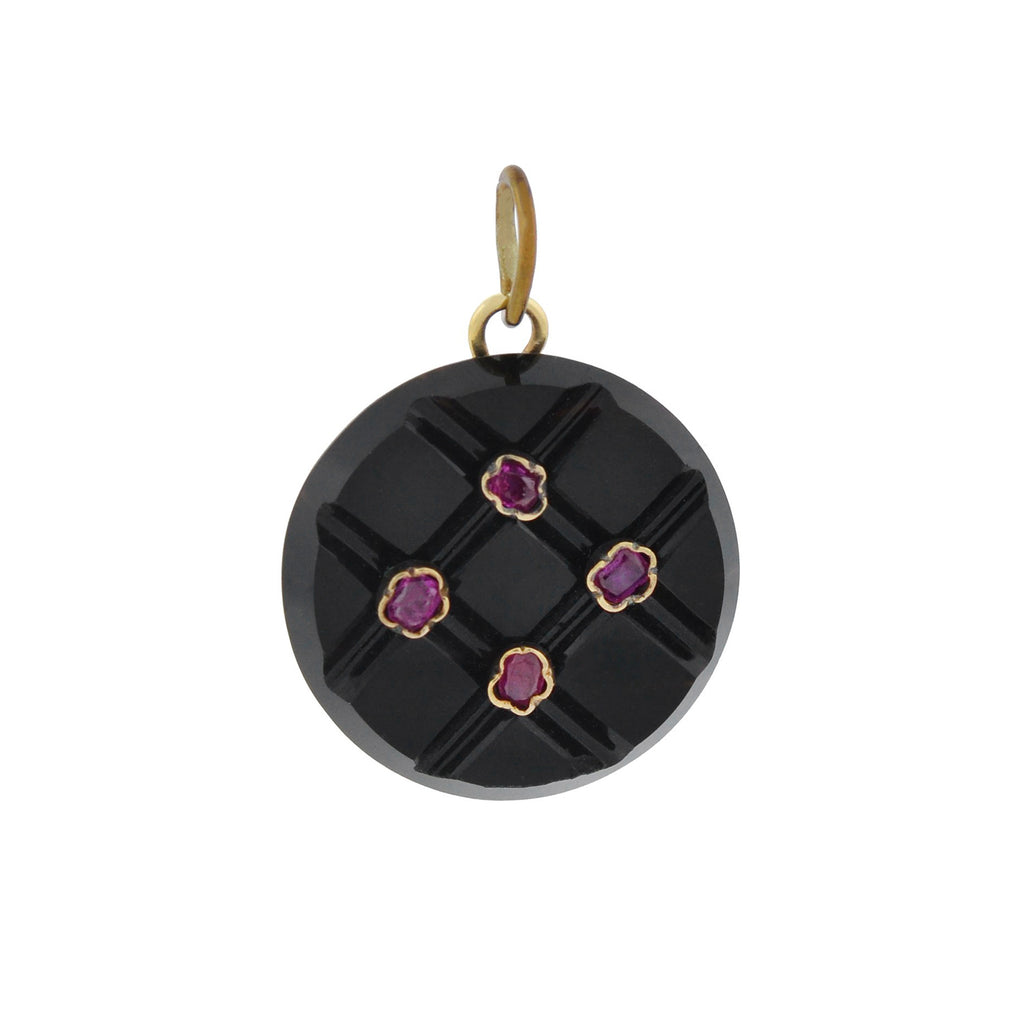 "Art Deco 14kt Carved Onyx + Ruby ""Button"" Pendant"