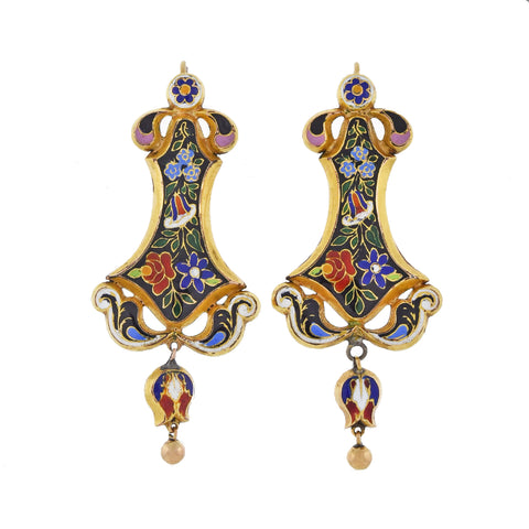 Victorian 14kt Floral Swiss Enamel Dangle Earrings