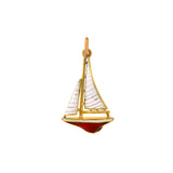 Art Deco 14kt Red + White Enamel Sailboat Charm/Pendant