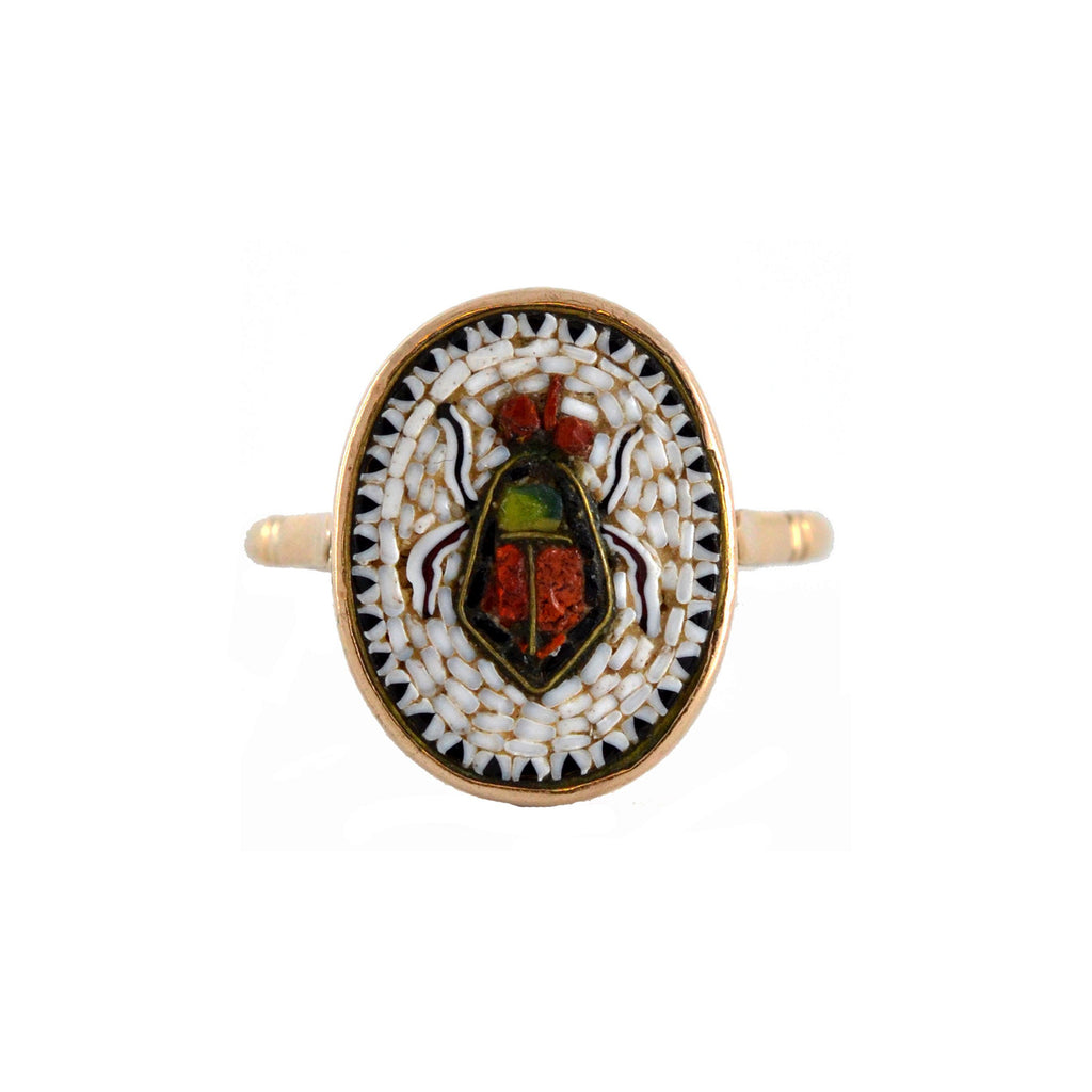 Victorian Egyptian Revival 9kt Micro Mosaic Scarab Beetle Ring