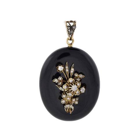Victorian Large 14kt Carved Onyx + Diamond Floral Mourning Locket/Pendant