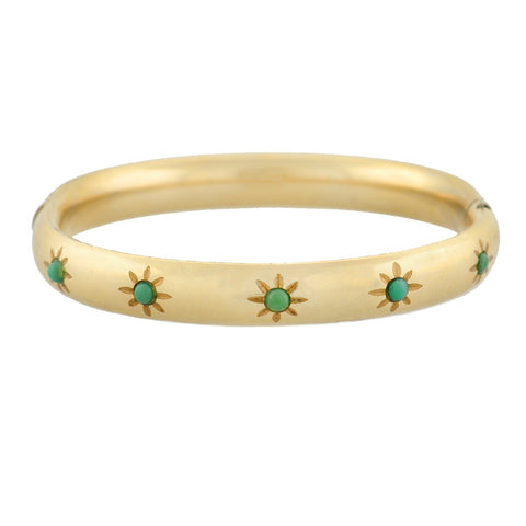 Victorian 12kt Gold Filled Turquoise Starburst Motif Hinged Bangle Bracelet
