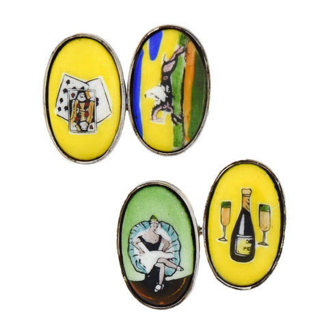 "Late Art Deco Sterling Painted Porcelain ""Four Vices"" Cufflinks"