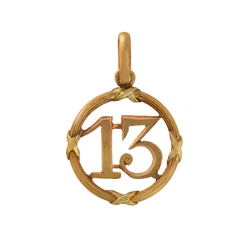 "Late Victorian 18kt Gold ""Lucky 13"" Charm Pendant"
