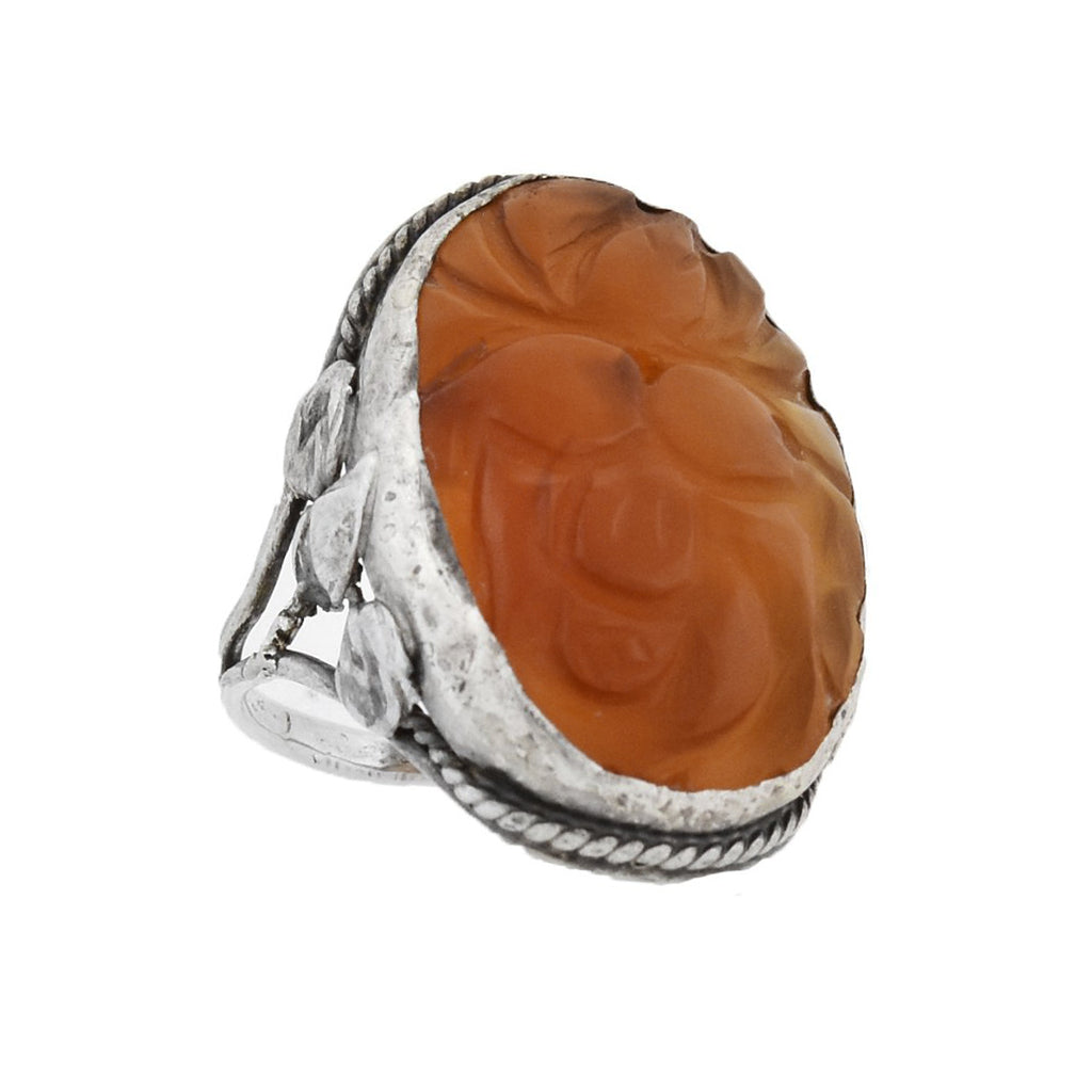 Art Nouveau Large Sterling Carved Carnelian Floral Ring