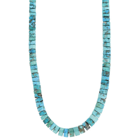 Vintage Native American Turquoise Rondelle Bead Necklace 25.75""