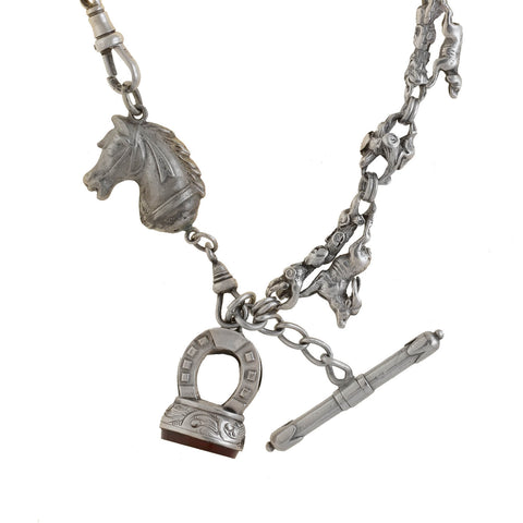 Victorian Sterling Equestrian Watch Chain + Carnelian Intaglio Fob Necklace 24""