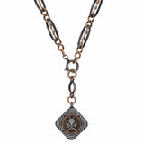 Victorian 9kt/Silver Niello Skull + Crossbones Pendant with Niello Chain Necklace 17