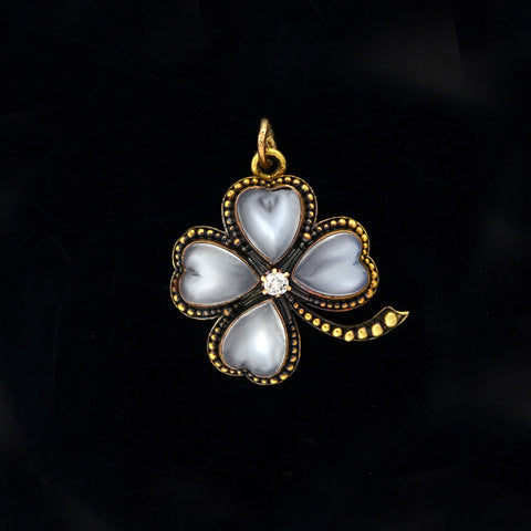 Art Nouveau 14kt Moonstone + Diamond Four Leaf Clover Pendant