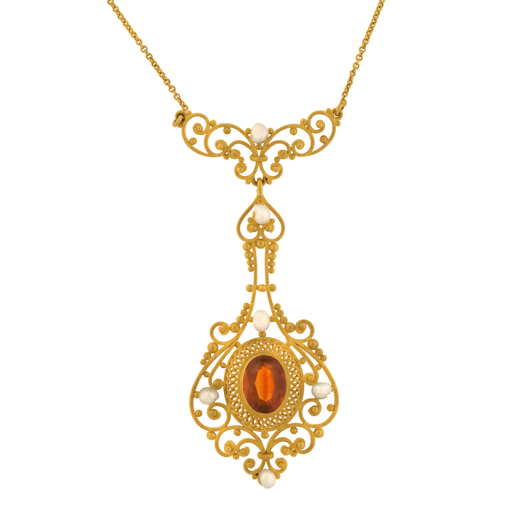 Art Nouveau 14kt Madeira Citrine + Pearl Filigree Lavalier Necklace 15""