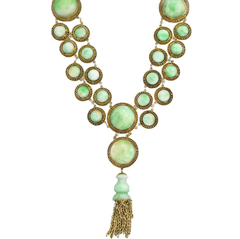 Art Deco Chinese Sterling Gilt Jade Link + Tassel Pendant Necklace 21""