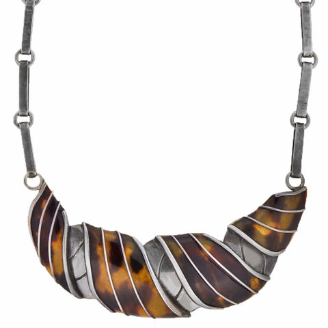 "SPRATLING Vintage Sterling + Tortoise Shell ""Collar Gola"" or ""Ruff Croissant"" Necklace 17"""