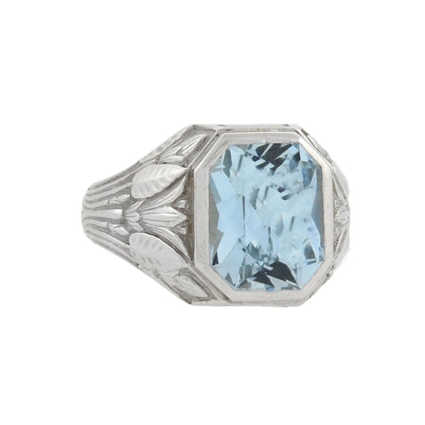 Art Deco 14kt French Cut Aquamarine Ring 6.00ct