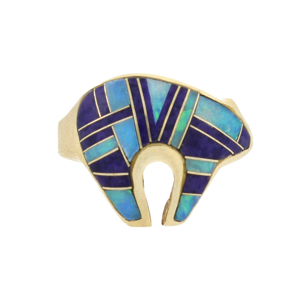 Native American 14kt Inlaid Opal + Amethyst Bear Symbol Ring