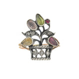 Georgian 9kt/Sterling Gemstone + Diamond Gardinetto Flower Basket Ring