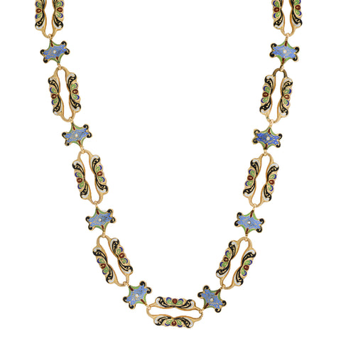Victorian 18kt Swiss Enamel Fancy Open Link Chain Necklace 20""