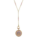 Victorian Swiss 18kt Diamond, Pearl + Guilloché Enamel Watch Pendant Necklace 21