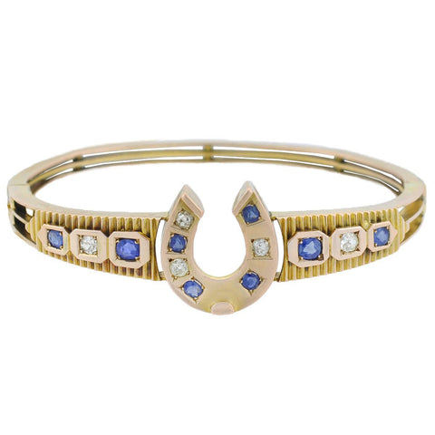 Victorian 12kt Diamond + Sapphire Horseshoe Bangle Bracelet