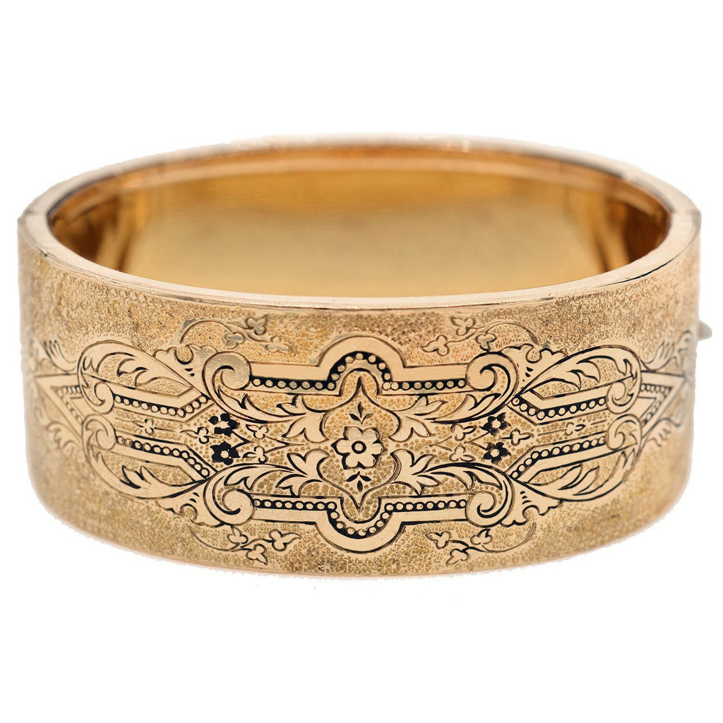 Victorian Gold-Filled Tracery Enamel Etched Bangle Bracelet