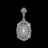 Art Deco 14kt Rock Quartz Crystal Diamond Filigree Pendant
