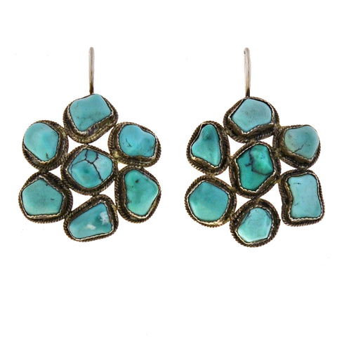 Art Deco Chinese Sterling + Turquoise Cluster Earrings