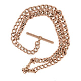 Victorian 9kt Rose Gold Graduated Curb Link Watch Chain Necklace 18
